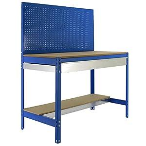 Banco de trabajo BT2 con cajón Simonwork Azul/Madera Simonrack 1445x1510x610 mms – Banco de trabajo con panel – mesa de bricolaje 600 Kgs de capacidad por estante