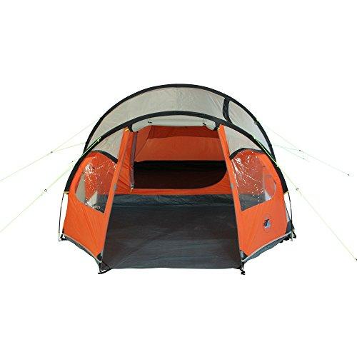 10T Mandiga 3 Orange - Tunnelzelt für 3 Personen, Campingzelt mit großer Schlafkabine, wasserdichtes Familienzelt mit 5000mm, Zelt mit 2 Eingängen und 2 Fenstern, Festivalzelt mit Dauerbelüftung, 3 Mann Zelt mit Tragetasche, Zeltheringe und Zeltgestänge - 8