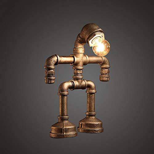 XGBIN Kreative Eisen Roboter Tischlampe, Retro LED Energiesparlampe, Bar Restaurant Cafe Wasserleitung Licht, E27 Schnittstelle