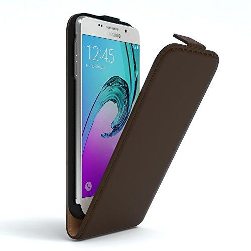 Samsung Galaxy A3 (2016) Hülle - EAZY CASE Premium Flip Case Handyhülle - Schutzhülle aus Leder zum Aufklappen in Rot Braun