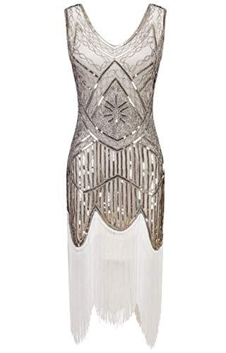 Flapper Kostüm Kleid Fringe - ZDSYYK 1920er Jahre Flapper Kleid Frauen Vintage Pailletten Fringe Perlen Art-Deco-Kostüm mit Ärmel für Party Prom (Style11,S)