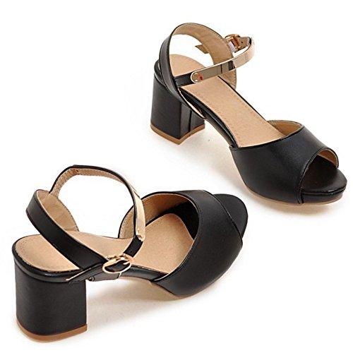 TAOFFEN Damen Fashion Peep-toe Middle Heel Sandalen Lady Slingback Shoes Schwarz