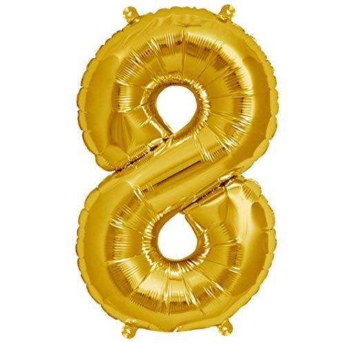 Folienballon Gelb-Gold | Zahl 8 | Ballon für Luft und Helium | XL 70 x 15 cm | Geburtstag Hochzeitstag Jubiläum Geschenk Abschluss Party Überraschung