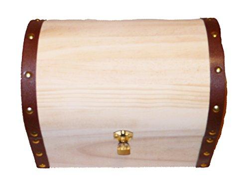 Holzbox - Schatztruhe- Echt Kiefernholz - rechteckig - mit Halbrund Deckel - lederbänder - Metall Verschluss incl. VHS - (1x1Stück) (XXXL: innen ca.250/160/190mm) (Vhs-aufbewahrungsboxen)
