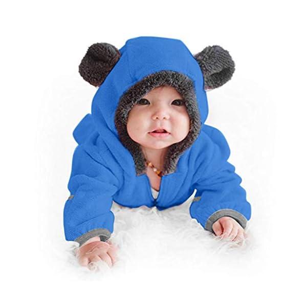 Amphia - Bebé Ropa Mameluco Niños Niñas Pijama de Otoño y Invierno Bebé Capucha Mono Franela Mameluco Animados Pijama… 2