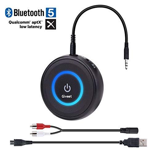 Giveet Bluetooth V5.0 émetteur et le récepteur avec aptX Low Latency, adaptateur streaming audio sans fil pour la télévision, PS4, XBOX, son Home voiture haut-parleur stéréo 3,5 mm avec ou RCA Jack