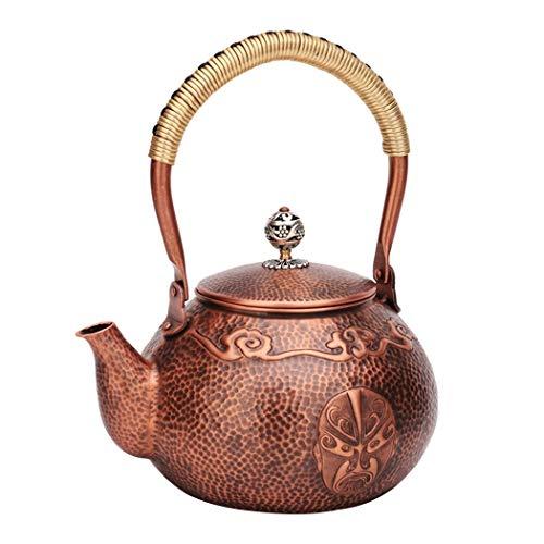 Tao-Teekannen Handgemachte Kupfer-Teekanne, gehämmerter Kupferkessel, Gesichts-Make-up im Pekinger Opernmuster, Stärke 1,2 mm, 38,8 Unzen (Tee Grüner Make-up-tücher)