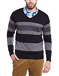 Duke Men Solid Regular Fit Sweater Black Coloured X-Large