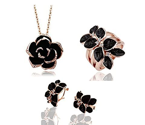 Most Beloved Yellow Gold Black Rose Eight Petals Camellia Jewelry Set Necklace Ring Earrings by Most Beloved