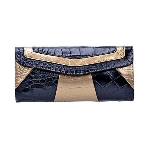 ZXCB Damen Leder Clutch Krokodil Muster Umhängetasche Damen Retro Kette Schultertasche Wristlets Wallet,Black-OneSize