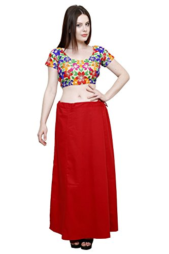 Pistaa Women's Cotton Deep Maroon Colour Readymade Solid Inskirt Saree petticoats
