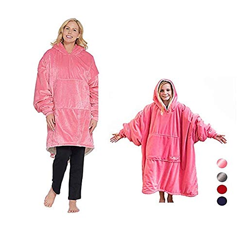 SCYTSD Hoodie, Faule TV-Decke Ultra Plush Hooded Robe Blanket Hoodie Winter Soft Warm Reversible Hooded Robe for Indoor and Outdoor, HoodiesCoats (One Size Fit All),Pink