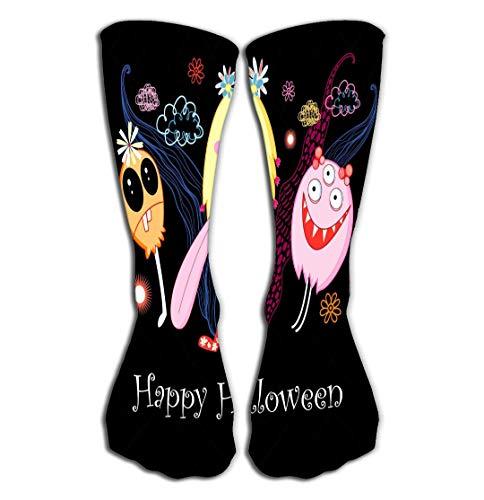 utdoor Sports Men Women High Socks Stocking Postcard Halloween Monsters Character Tile Length 19.7