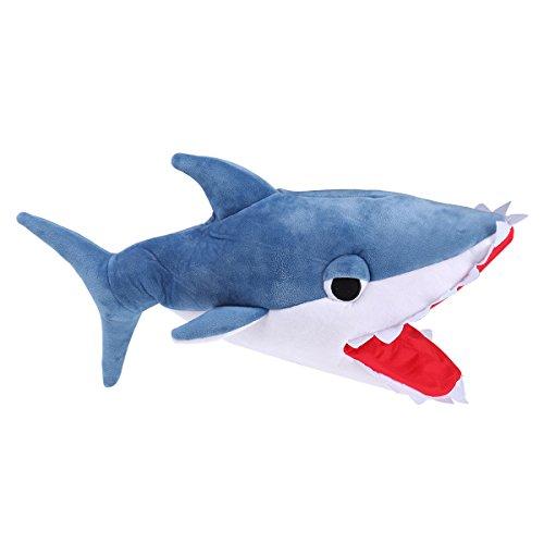 BESTOYARD Hai Hut Mütze Plüsch Tier Hüte Hai Kostüm für Kinder und Erwachsene (Blau)