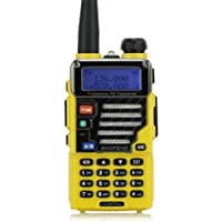 Baofeng Qualette Serie UV-5R Plus/UV5R+ Walkie talkie Ricetrasmettitori 136-174/400-480MHz 2M/70CM Ham radio a due vie , Dual -Band , Dual - display , dual - standby , 18CM/7FT Boosted Antenna, Imperial Giallo