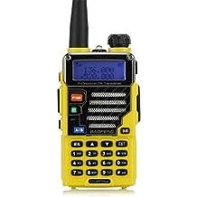 Baofeng UV-5R Plus/UV5R+ Qualette Serie 136-174/400-480MHz 2M/70cm Ham Two-way Radio, Dual-Band, Dual-Display, Dual-Standby,18CM/7FT Impulsado Antena (Amarillo)