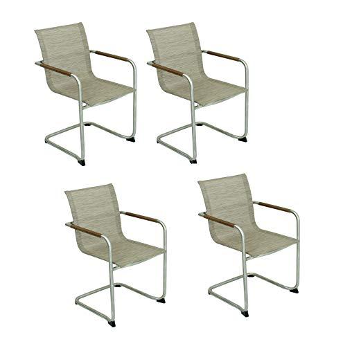 4X Freischwinger Stuhl Stühle Sessel Set Gartensessel Garten Balkon Terrasse