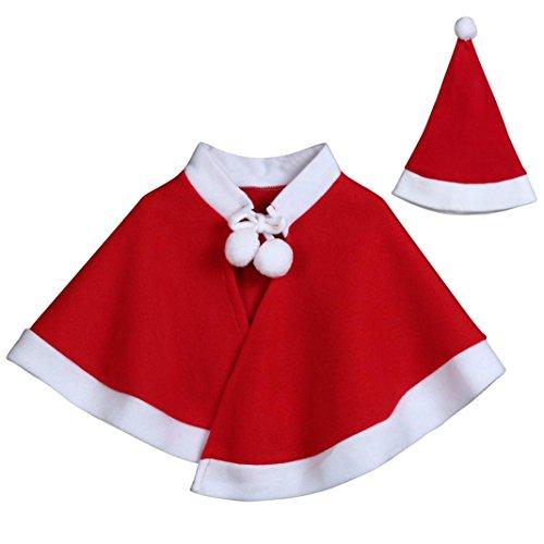 HKFV Kinder Kinder Weihnachten Kostüm Cosplay Cape Mantel für Baby Jungen Mädchen Kleidung Kinder Weihnachten Cosplay Mantel Umhang Leistung Kleid Umhang + 1PC Hut (Rot, (Kostüm Ideen Einfach Indischen)