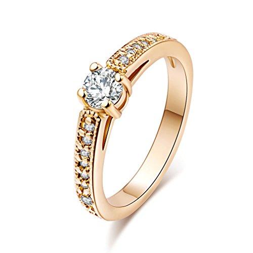 YAZILIND 18k Gold überzogene Zirkonia-Band-Ring für Frauen & Mädchen (Größe 47)
