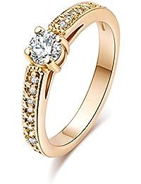 Yazilind Eternity Love Mujeres 18K oro plateado princesa Cut CZ embutidos Crystal Engagement Rings Mejor Promesa Anillos Aniversario de las bandas de boda para Lady Girl High acabado polaco Confort