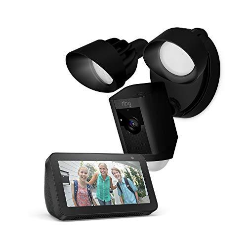 Ring Floodlight Cam, Black + Echo Show 5, Black, Works with Alexa