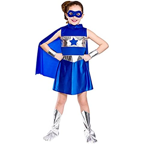 Wicked Costumes - Disfraz de superheroína para niña, color azul