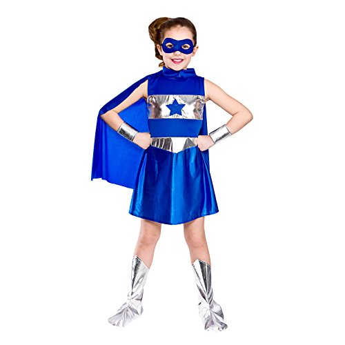 Girls Blue Super Hero Fancy Dress Party Costume Halloween Child (Erwachsenen Super Hero Cape)