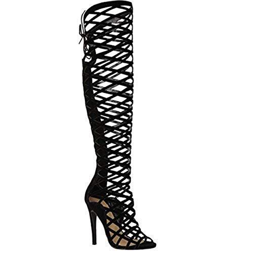 Fashion thirsty da donna da ragazza con intagli pizzo al ginocchio tacco alto stivali sandali stile gladiatore con bretelline misura - scamosciato nero, 40