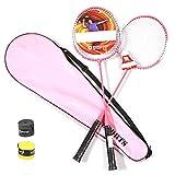 ZZTT 2-teiliger Badmintonschläger Ferrolegierungsschläger Inklusive Badminton-Tasche 2-teiliger Schläger,Pink