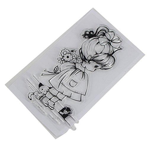 ECMQS Girl & Dog DIY Transparente Briefmarke, Silikon Stempel Set, Clear Stamps, Schneiden Schablonen, Bastelei Scrapbooking-Werkzeug
