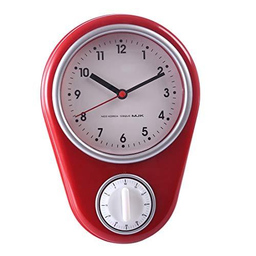 Seciie Küchenuhr, Retro Wanduhr Küchen Vintage Style Küchenuhr mit Timer, Rot