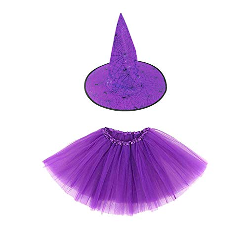 r Mädchen Halloween Tutu Kostüm Set Scary Witch Purple ()
