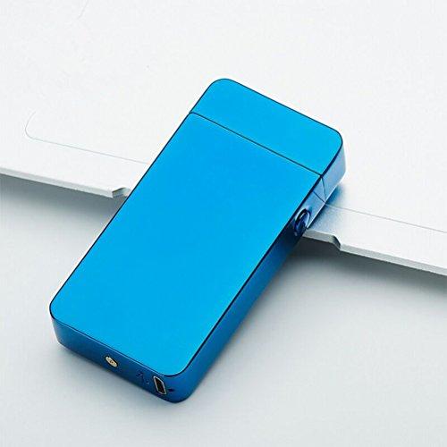 *BESTOMZ USB Feuerzeug – Lichtbogen Feuerzeug, Doppel-Lichtbogen flammenloses elektronisches Feuerzeug (Blue Ice)*