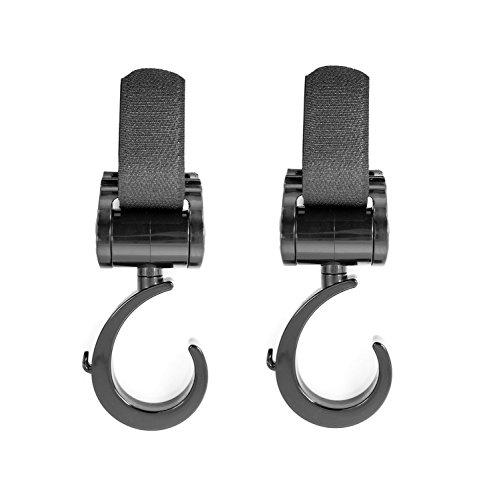 Preisvergleich Produktbild TALINU 2er Pack Kinderwagenhaken / Universalhaken / Kinderwagenbefestigung / Stroller Hooks in schwarz - stabil, belastbar, flexibel | mit 2 Jahren Zufriedenheitsgarantie