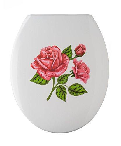 Wenko WC-Sitz Rosen-Romantik Rostfreie Edelstahl-Befestigung, 1 Stück, 76221500