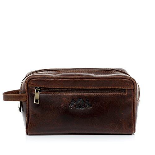 Scotch-Vain-neceser-GATWICK-piel-genuina-marrn-bolsa-de-aseo-L-bolso-de-viaje-para-25-x-15-x-11-cm