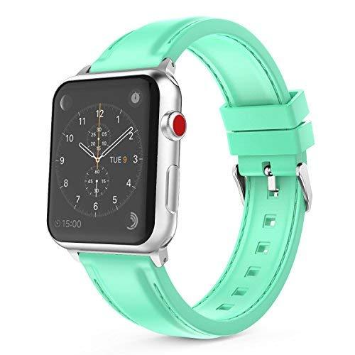 MoKo Armband Kompatibel für Apple Watch 38mm 40mm, Silikon Sport Band Uhrenarmband Erstatzband für Apple Watch Sportuhr 38mm 40mm Nike+ Series 5/4/3/2/1, Mint Grün