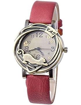 Damen Katze & Blumen Quartz Analog Uhr Armbanduhr Bronze Gehäuse Rot