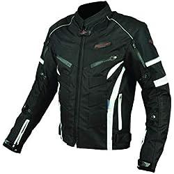 RIDER-TEC - Blouson Moto Urban Black&White - Ultra-Résistant - Protections fournies - Homologué CE - Taille-XXL