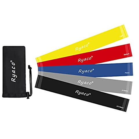 Ryaco [Upgraded 5 Packs] Resistance Loop Bands, Premium Exercise Bands for men/women - Improving Mobility/Strength/Yoga/Pilates/Injury Rehabilitation/Fitness Workouts/Home Gyms/Physical Therapy