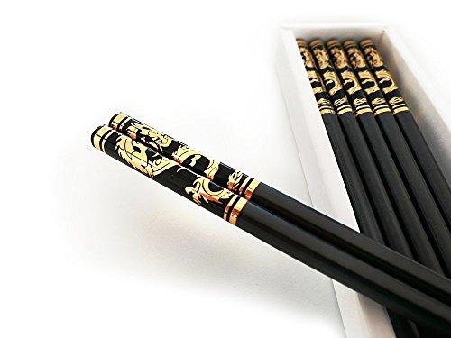 Drachen Chinesische (5 Paar hochwertige Essstäbchen, Stäbchen Chinesisch Drache, Premium Chopsticks Chinese Dragon, FROZENPi (Gold))