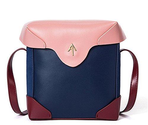 XinMaoYuan Herbst und Winter schlagen kleine Quadratische Tasche Einfache Pfeil Tasche Retro Schulter diagonal Handtaschen aus Leder Blau