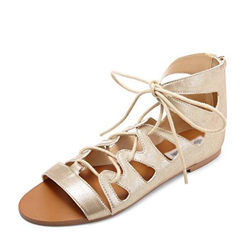 ZCJB Sandales Chaussures D été Simples Creux Femmes Roman Open Toe Strap Sandales  Chaussures Plates f532c64b3751