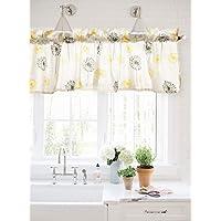 Crabtree Collection Gris y amarillo de diente de león cortina cenefa para Windows - 40 x 152 cm 40 cm x 152 cm Gris Amarillo diente de león