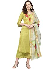 Indo Era Silk Blend Straight embroidered kurta palazzo set for women (kurta Sets)