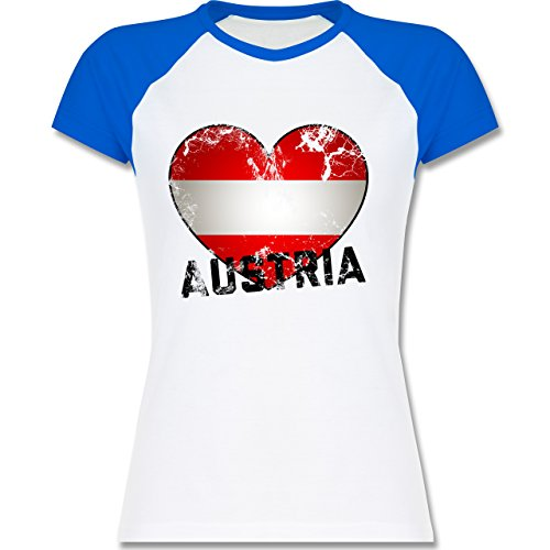 Shirtracer Länder - Austria Herz Vintage - Zweifarbiges Baseballshirt/Raglan T-Shirt für Damen Weiß/Royalblau
