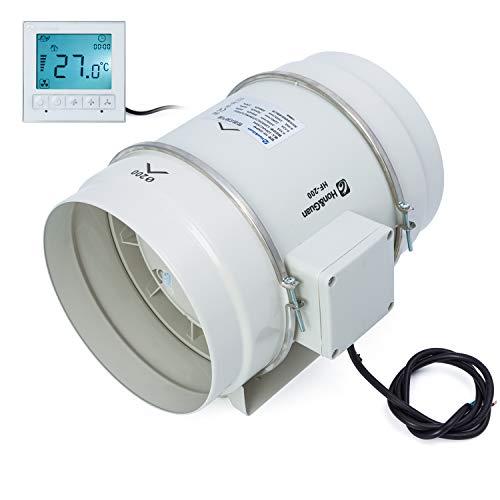 Hon&Guan 200mm Rohrventilator Abluftventilator Timer mit Intelligenter Schalter für Zimmer Bad Küche - Drei Geschwindigkeit (Ø200mm)