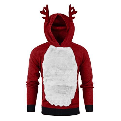 Meclelin Weihnachten 2019 Herren Hoodies Nähen Plus Samt Elch Cosplay Herbst Winter Xmas Hooded Sweatshirt Outdoor Warm Weihnachtstag Kapuzenpullover