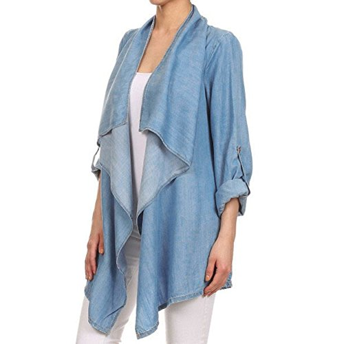 Rrimin Women Casual Long Sleeve Draped Collar Loose Cardigan Outerwear Jacket (XL)