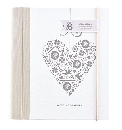 Busy B Wedding Planner - Cuore argento - con sezioni, liste e tasche per la pianificazione. Perfetto come regalo di fidanzamento.